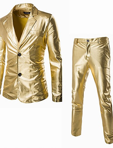 cheap Historical & Vintage Costumes-Disco 1980s Pants Suits & Blazers Men's Sequins Costume Golden / Black / Silver Vintage Cosplay Party Halloween Club Long Sleeve / Tuxedo / Tuxedo