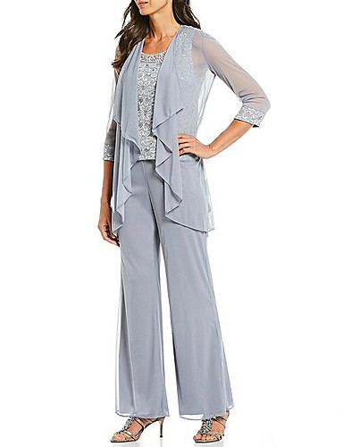 cheap Mother of the Bride Dresses-Pantsuit / Jumpsuit Mother of the Bride Dress Elegant Plus Size Jewel Neck Ankle Length Chiffon Sleeveless with Lace Beading 2020