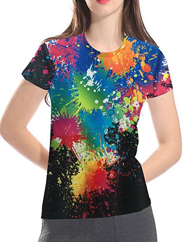 billige Dametopper-T-skjorte Dame - 3D / Regnbue / Batikkfarget, Trykt mønster Grunnleggende / overdrevet Regnbue