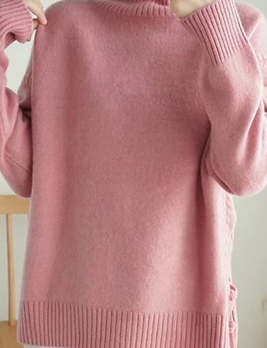 billige Dametopper-Dame Ensfarget Langermet Pullover Genserjumper, Rullekrage Rosa / Gul / Blå S / M / L