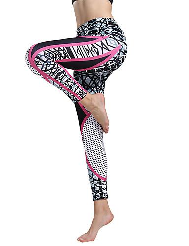 povoljno Vježbanje, fitness i joga-Žene Visoki struk Hlače za jogu Print Plava i bijela Crveno / crno Red / White Siva + bijela Crno / bijela Spandex Trčanje Fitness Trening u teretani Biciklizam Hulahopke Tajice Sport Odjeća za