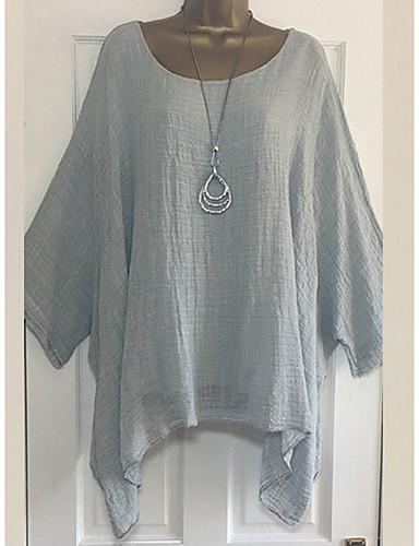 billige T-skjorter til damer-T-skjorte Dame - Ensfarget Grunnleggende Hvit