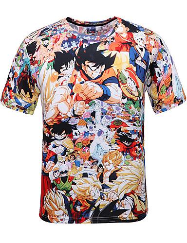 voordelige Anime cosplay-geinspireerd door Dragon Ball Son Goku Anime Cosplaykostuums Japans Cosplay T-shirt Polka dot Print Korte mouw T-shirt Voor Heren