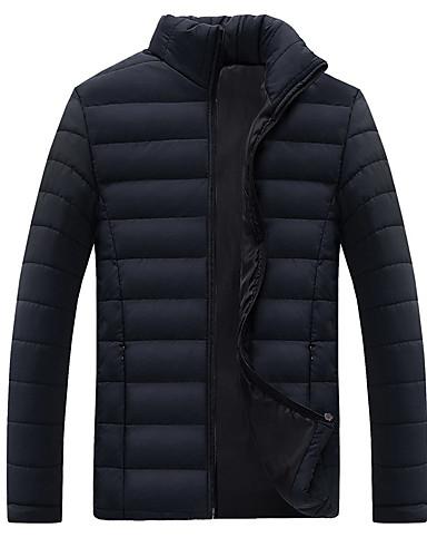 levne Pánské kabáty a parky-Pánské Jednobarevné Standardní S vycpávkou, Polyester Černá / Vodní modrá / Rubínově červená US32 / UK32 / EU40 / US34 / UK34 / EU42 / US36 / UK36 / EU44