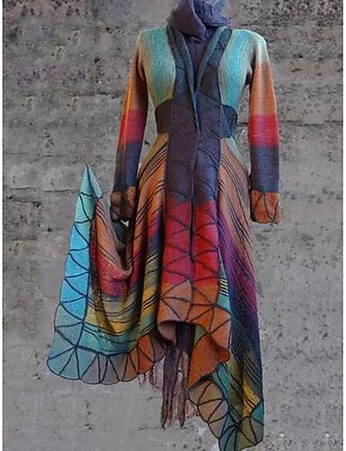 levne Dámské kabáty a trenčkoty-Dámské Denní Standardní Kabát, Geometrický Do V Dlouhý rukáv Polyester Fialová / Oranžová / Žlutá