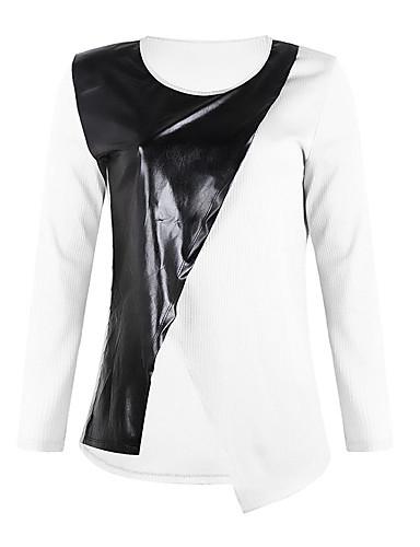 billige Dametopper-T-skjorte Dame - Fargeblokk / Ensfarget, Lapper Gatemote Svart & Rød / Svart og hvit Hvit