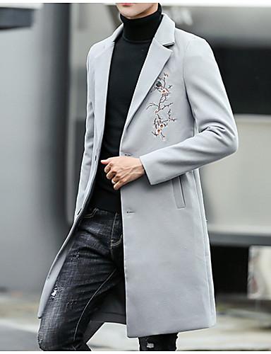 levne Pánská saka a kabáty-Pánské Denní Podzim zima Standardní Kabát, Jednobarevné Přehnutý Dlouhý rukáv Polyester Černá / Fialová / Světle šedá