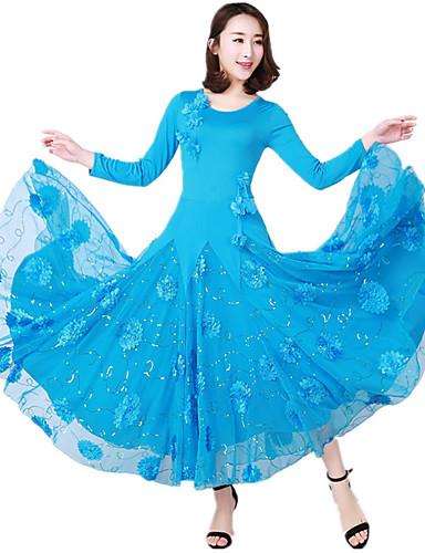 povoljno Shall We®-Klasični plesovi Haljine Žene Seksi blagdanski kostimi / Tematska zabava Terilen / Tejszövet Aplikacije / Vez / Čipka-obrubljen Bottom 3/4 rukava Prirodno Haljina