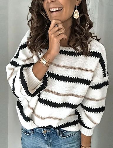 preiswerte Damen Oberteile-Damen Gestreift Langarm Pullover Pullover Jumper, Rundhalsausschnitt Schwarz / Weiß / Kamel S / M / L