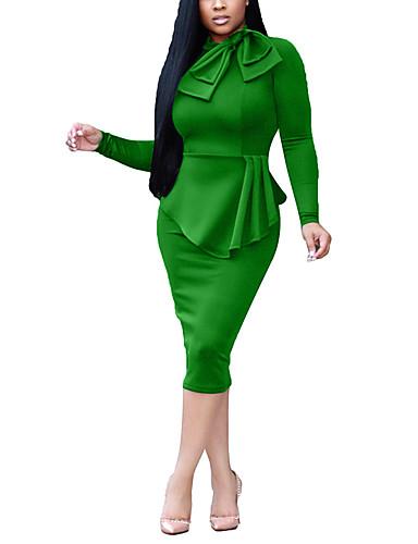 levne Pracovní šaty-Dámské Šik ven Elegantní Bodycon Pouzdro Šaty - Jednobarevné, Mašle Patchwork Délka ke kolenům