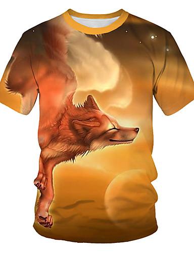 Homens Camiseta Básico / Moda de Rua Estampado, Geométrica / 3D Laranja