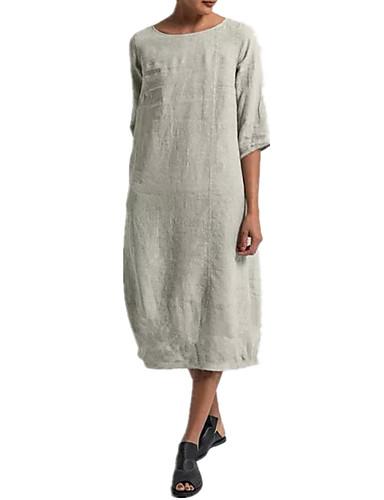 preiswerte Casual Kleider-Damen Street Schick Abaya Kleid Solide Midi