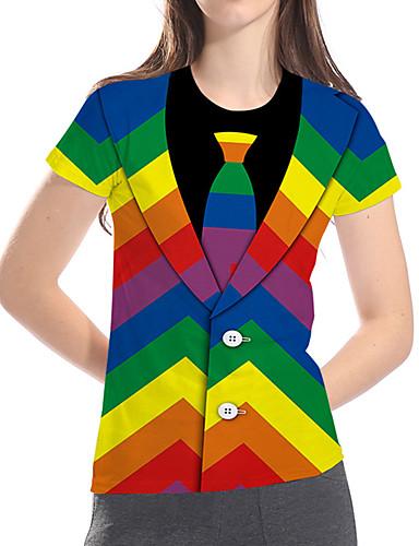 billige Dametopper-T-skjorte Dame - 3D / Regnbue / Grafisk, Trykt mønster Grunnleggende / overdrevet Regnbue