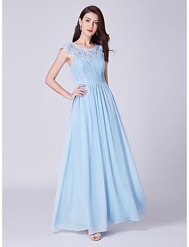 preiswerte Abendkleider-A-Linie Schmuck Boden-Länge Spitze Abiball / Formeller Abend Kleid mit Plissee durch LAN TING Express