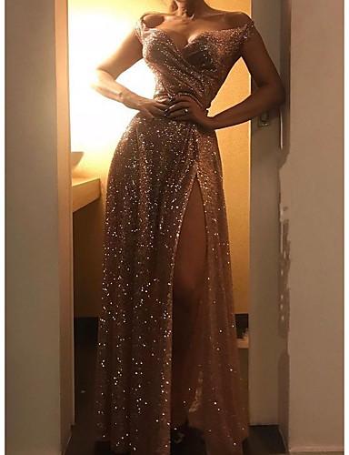 levne Maxi šaty-Dámské Párty Elegantní A Line Šaty - Jednobarevné, Rozparek Maxi Pod rameny