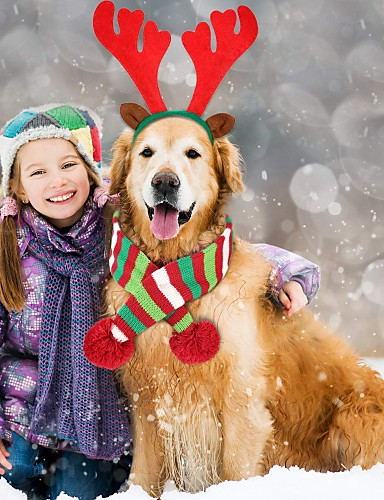preiswerte Spielzeug & Hobby Artikel-Hunde Hundeschal Winter Hundekleidung Streifen Kostüm Corgi Beagle Shiba Inu Acrylfasern Gestreift Weihnachten Warm-Ups Weihnachten XS M XL