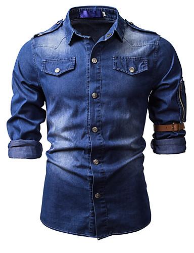 levne Pánské košile-Pánské - Jednobarevné Základní Košile, Džínovina / Patchwork Světle modrá