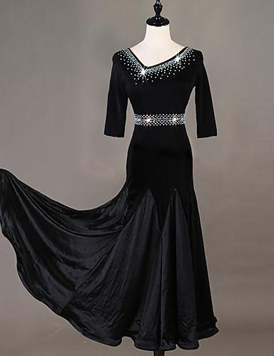 cheap Ballroom Dancewear-Ballroom Dance Dress Crystals / Rhinestones Women's Training 3/4-Length Sleeve High Chinlon
