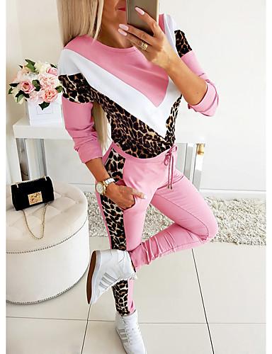 billige Dametopper-Dame Grunnleggende Sett Bukse - Trykt mønster, Leopard