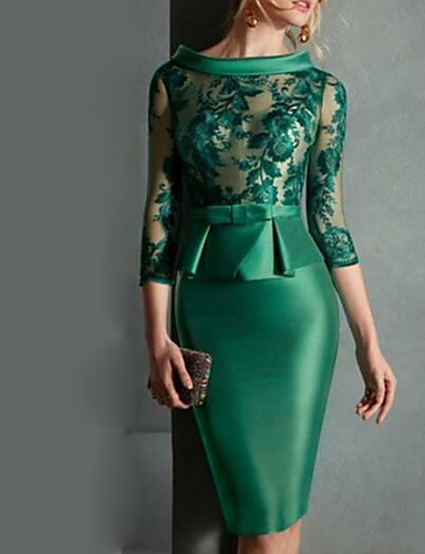 cheap Special Occasion Dresses-Sheath / Column Peplum Green Wedding Guest Cocktail Party Dress Jewel Neck 3/4 Length Sleeve Knee Length Satin with Buttons Appliques 2020