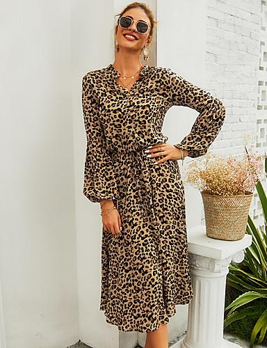 preiswerte Für Junge Frauen-Damen A-Linie Kleid Langarm Leopard V-Ausschnitt Grundlegend Freizeitskleidung Leicht Braun S M L XL