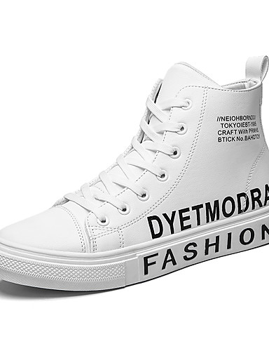 preiswerte Athletische Schuhe für Herren-Herrn Komfort Schuhe PU Winter / Herbst Winter Klassisch / Freizeit Sneakers Atmungsaktiv Schwarz / Weiß