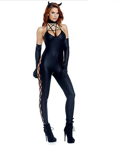 povoljno Maske i kostimi-Sexy Demon Crna Mršava PU catsuit kaiša Ženska nošnja