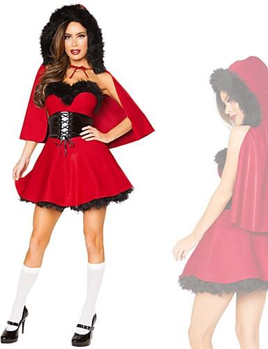 preiswerte Weihnachten Kostüme-FrauClaus Damen Erwachsene Weihnachten Weihnachten Weihnachten 100% Acryl Kleid / Gürtel / Umhang