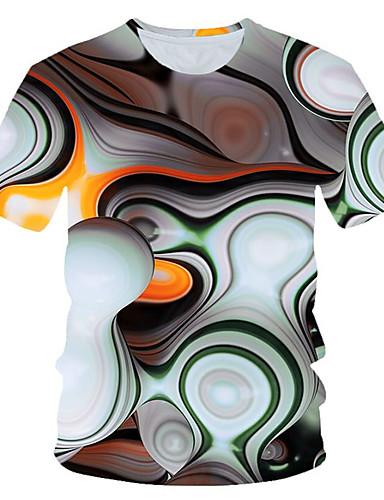 Homens Camiseta Moda de Rua / Exagerado Estampado, Estampa Colorida / 3D / Gráfico Branco