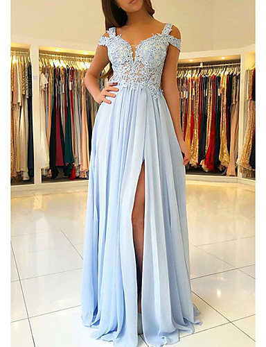 cheap Evening Dresses-A-Line Empire Blue Prom Formal Evening Dress V Neck Short Sleeve Floor Length Chiffon Lace with Appliques Split Front 2020
