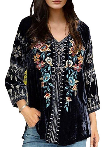 preiswerte T-Shirt-Damen Geometrisch T-shirt Schwarz
