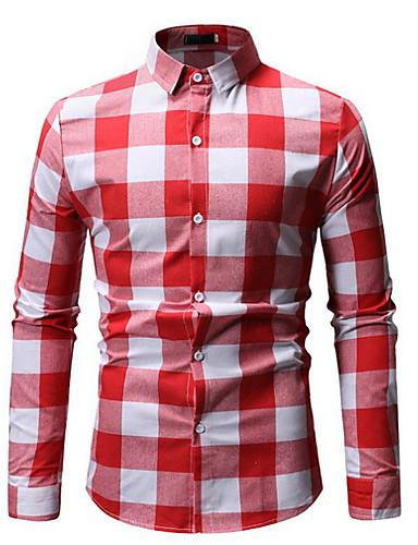 Homens Camisa Social Xadrez Vermelho