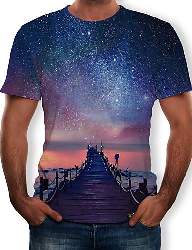 Homens Camiseta Estampado, 3D Azul