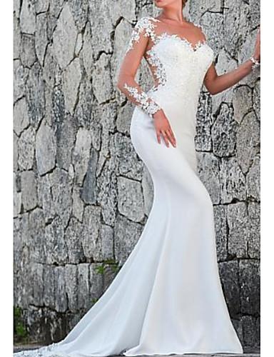cheap Wedding Dresses-Sheath / Column Wedding Dresses Jewel Neck Court Train Lace Satin Long Sleeve Mordern Illusion Sleeve with Lace Insert 2020
