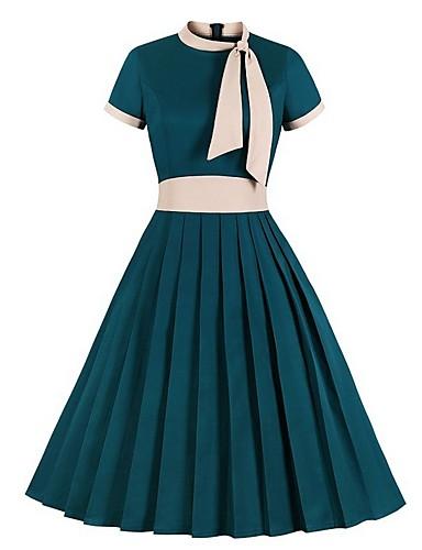 levne Pracovní šaty-Dámské A Line Šaty - Barevné bloky Midi
