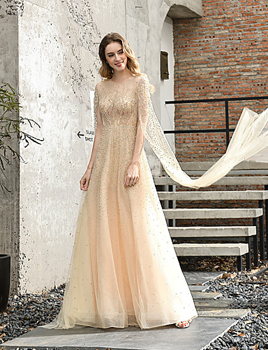 cheap Wedding Dresses-A-Line Jewel Neck Sweep / Brush Train Tulle 3/4 Length Sleeve Cape Wedding Dresses with Beading 2020 / Illusion Sleeve