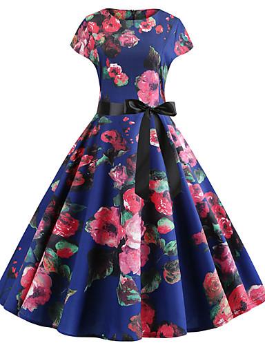 levne Šaty velkých velikostí-Dámské Vintage Šik ven Pouzdro Šaty - Květinový, Plisé Tisk Délka ke kolenům Rose