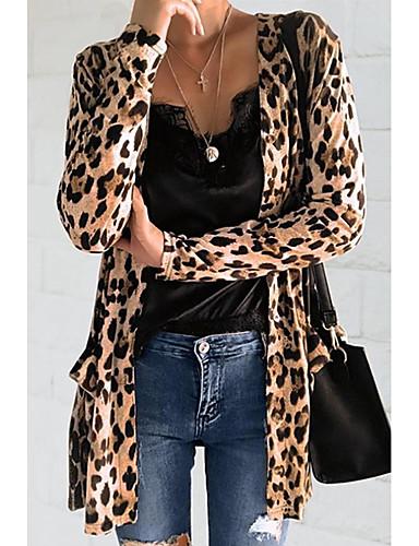 levne Dámské kabáty a trenčkoty-Dámské Denní Podzim zima Dlouhé Kabát, Leopard Do V Dlouhý rukáv Polyester Žlutá / Šedá