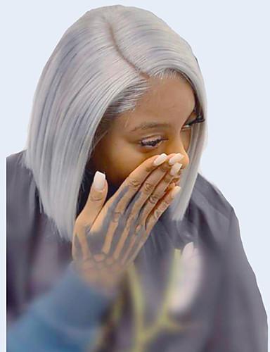 billige Blondeparykker med menneskehår-Ubearbeidet jomfruhår 13x6 Closure Blonde Forside Parykk Bobfrisyre Midtdel Deep Parting stil Brasiliansk hår Peruviansk hår Rett Mørkegrå Parykk 150% Hair Tetthet Beste kvalitet Hot Salg 100% Jomfru