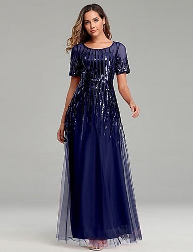 levne Maxi šaty-Dámské Elegantní Swing Šaty - Jednobarevné Maxi