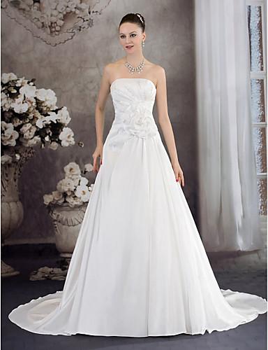 cheap Wedding Dresses-A-Line Strapless Chapel Train Taffeta Strapless Wedding Dresses with Ruched / Beading / Draping 2020