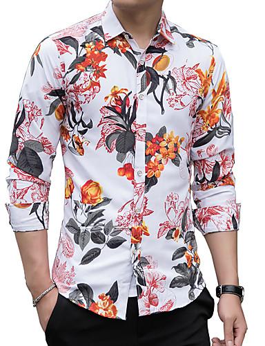 levne Pánské košile-Pánské - Květinový Základní Košile, Tisk Rubínově červená