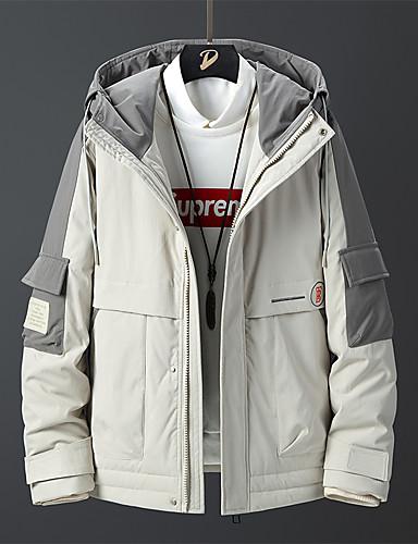 levne Pánské kabáty a parky-Pánské Barevné bloky Standardní Dlouhý kabát, POLY Černá / Béžová US32 / UK32 / EU40 / US34 / UK34 / EU42 / US36 / UK36 / EU44