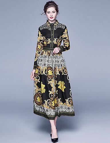 levne Maxi šaty-Dámské Sofistikované A Line Šaty - Geometrický, Tisk Maxi Černá