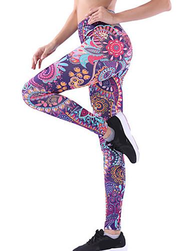 baratos Exercícios, Fitness & Yoga-Mulheres Cintura Alta Calças de Yoga 3D impressão Violeta Azul Claro Preto / Vermelho Céu azul + branco Azul+Rosa Elastano Corrida Fitness Treino de Ginástica Meia-calça Leggings Esporte Roupas