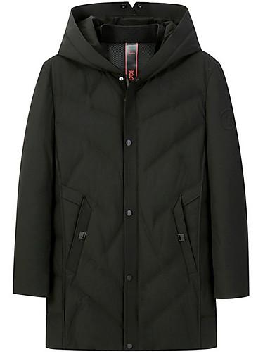 levne Pánské kabáty a parky-Pánské Jednobarevné S vycpávkou, Polyester Černá / Armádní zelená US32 / UK32 / EU40 / US34 / UK34 / EU42 / US36 / UK36 / EU44