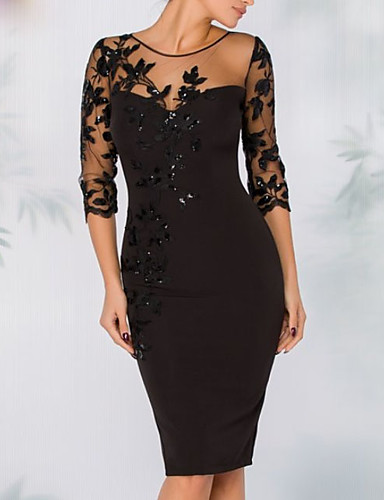 Sheath / Column Illusion Neck Knee Length Polyester Elegant / Black Cocktail Party / Wedding Guest Dress with Sequin / Appliques 2020
