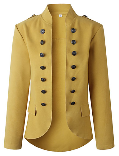 Women's Daily Winter Long Coat, Solid Colored V Neck Long Sleeve Polyester Army Green / Yellow / Red