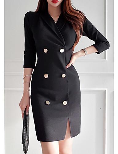 levne Pracovní šaty-Dámské Základní Bodycon Šaty - Jednobarevné Mini