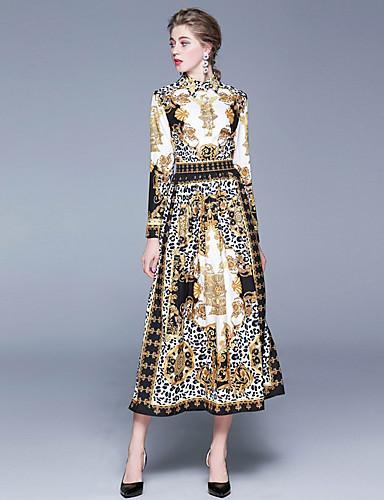 levne Maxi šaty-Dámské Cikánský Pouzdro Šaty - Leopard, Tisk Maxi Černá